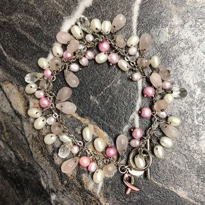 Jewelry - Real Pearl Breast cancer Awareness Bracelet